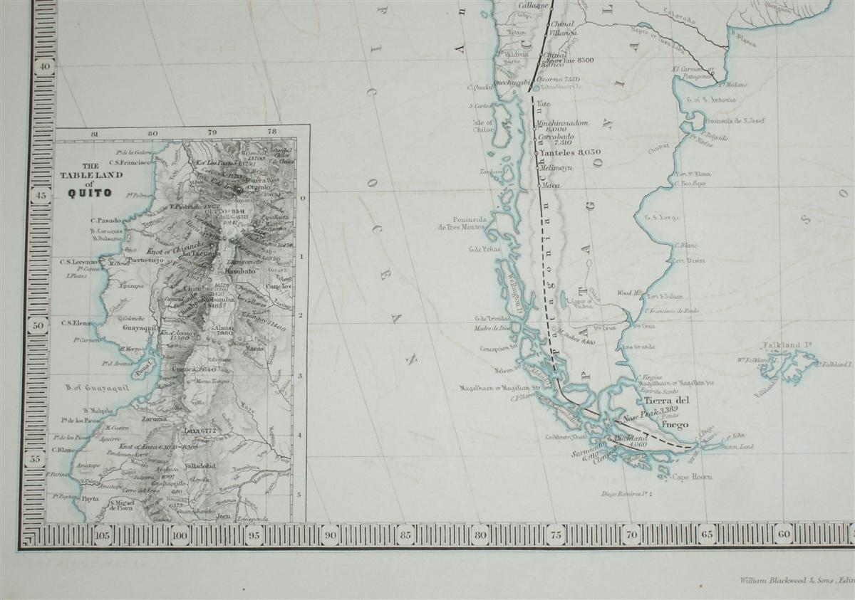 Image for Map showing Mountain Chains of South America inc. Quito and Bolivia