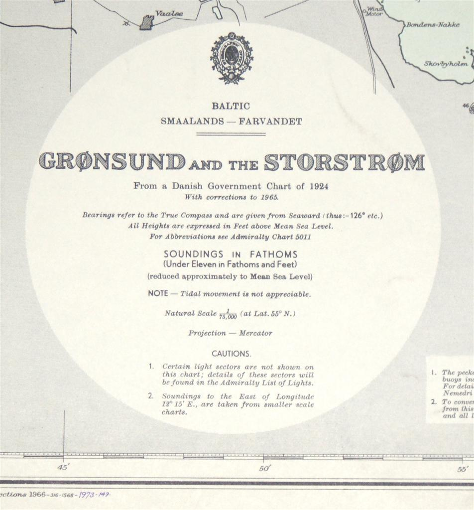 Image for Nautical Chart No. 2138. Smaalands - Farvandet: Gronsund and the Storstrom. From a Danish Government Chart of 1924 with corrections to 1965. Small corrections to 1973. Scale 1:75,000