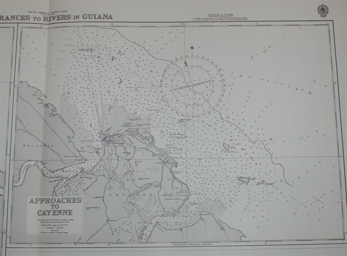 Image for Nautical Chart No. 534. South America North Coast, Entrances to Rivers in Guiana. Fleuve Maroni (Entrance) From the French and Netherlands Government Charts to 1965. Approaches to Cayenne, from the French Government Chart of 1956, Scale 1:75,000