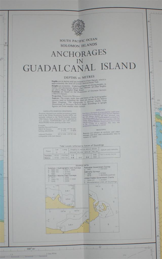 Image for Nautical Chart No. 1750 South Pacific Ocean - Solomon Islands, Anchorages in Guadalcanal Island