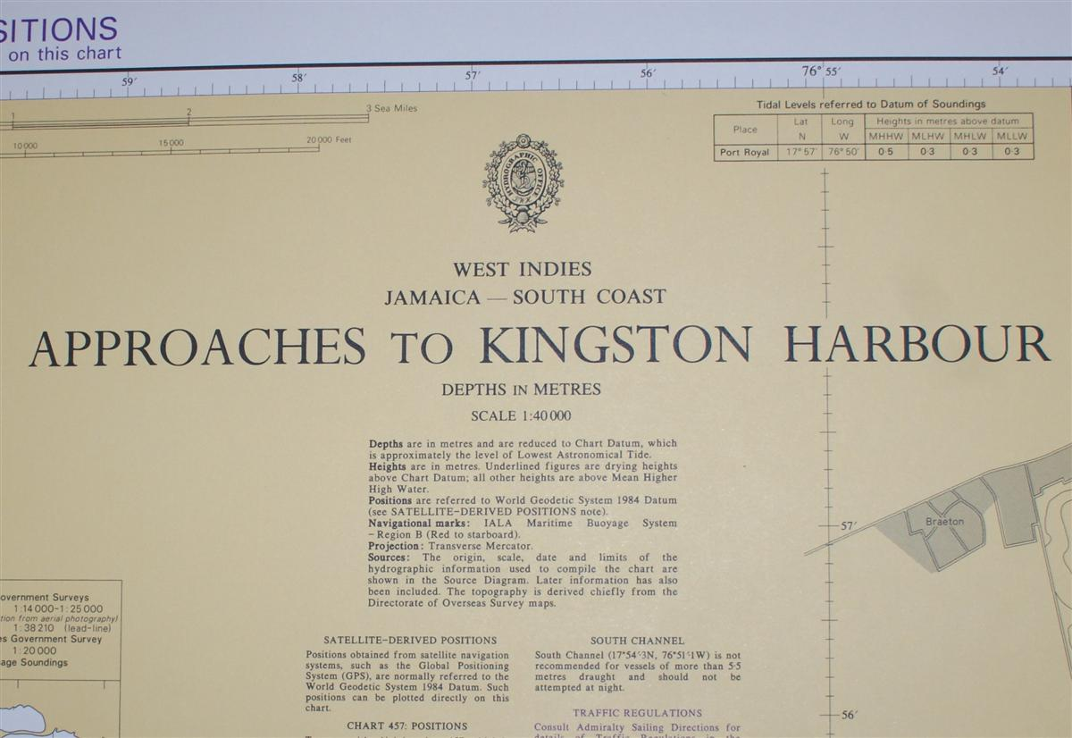 Image for Nautical Chart No. 456 West Indies, Jamaica - South Coast, Approaches to Kingston Harbour