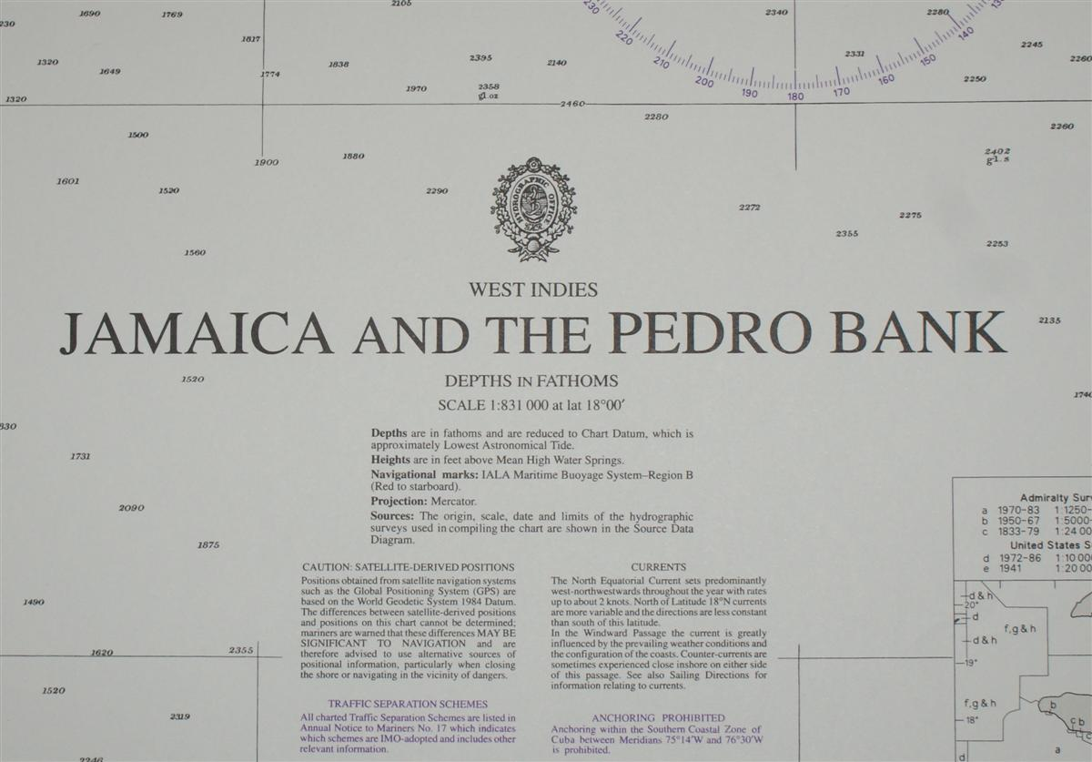 Image for Nautical Chart No. 486 West Indies - Jamaica and the Pedro Bank (with Cuba and Haiti)