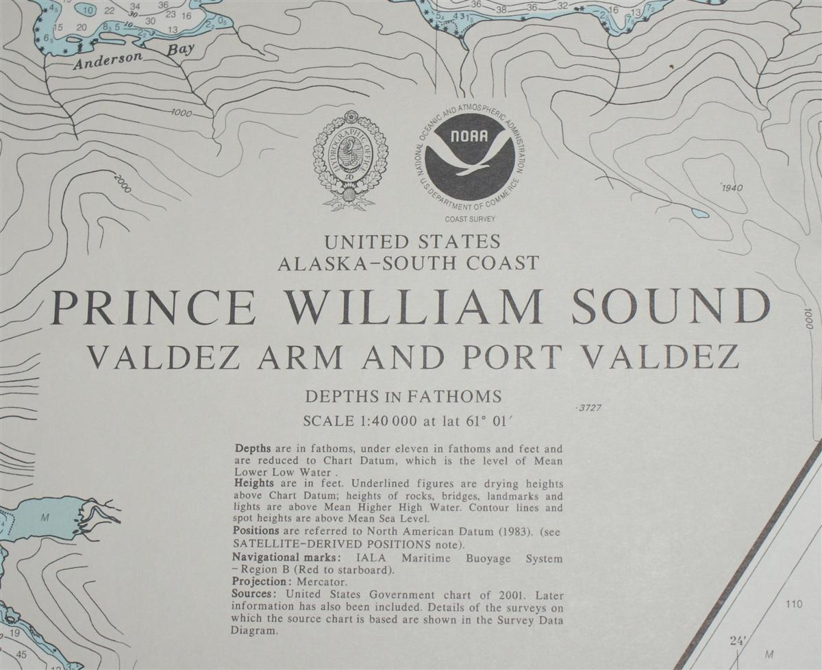 Image for Nautical Chart No. 4982 United States, Alaska - South Coast, Prince William Sound, Valdez Arm and Port Valdez